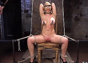 Clamped nipples well-endowed lady tormented