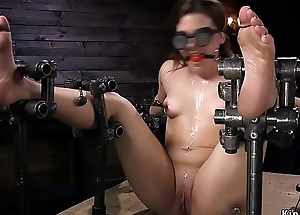Gagged little slave anal fucked with toy