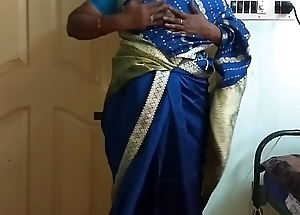 des indian horny cheating tamil telugu kannada malayalam hindi wife vanitha wearing blue colour saree  showing big boobs and shaved pussy press hard boobs press snack rubbing pussy masturbation
