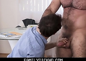 Twink Step Son Stays Home From School To Shot Sex With His Muscle Bear Step Dad