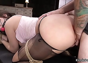 Big tits sub in torn pantyhose fucked