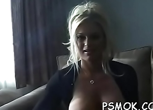 Elegant honey with great ass fingering her moist pussy