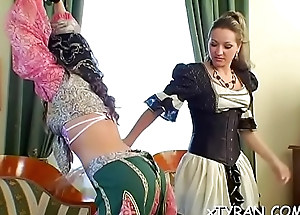Hard fetish act with a hot babe getting sexy gazoo whipped
