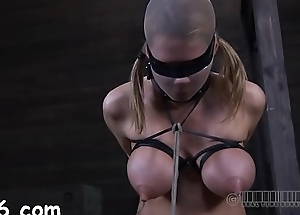 Pretty babe'_s fascinating teats receives painful torturing