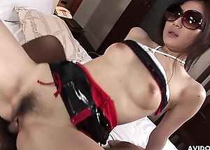 Lusty Japanese chick Akari Yukino bounces on hard hairy dick