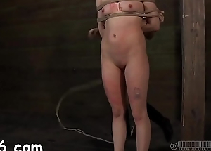 Alluring slaves are made to disrobe inside a miniature cage