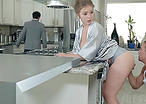 Lena Paul gets a load on her tits here the kitchen hardcore