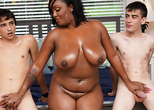 Ebony Mom Having Enjoyment With Stepson and His Friend