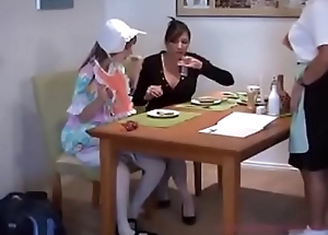Mom breastfeeds her daughter &amp_ waitress in a restaurant